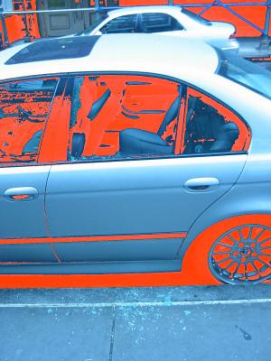 Car with a broken window.