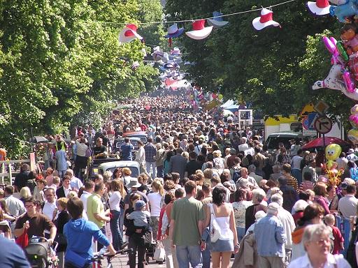 A crowd at Francuska street in Warsaw.